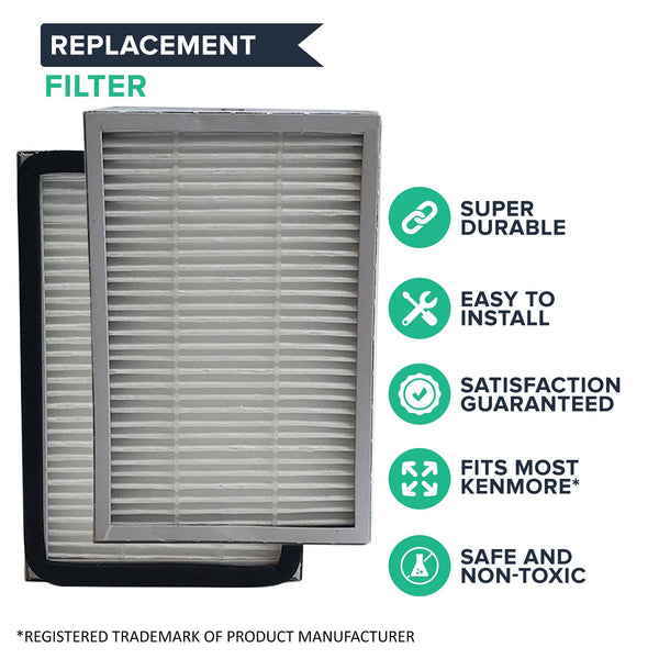 Crucial Vacuum Air Filter Replacement Part # 86880, 20-86880 and 40320 - Compatible With Kenmore Vacs - Kenmore EF2 HEPA Style Filter Fits Progressive and Intuition For Home, Office Use