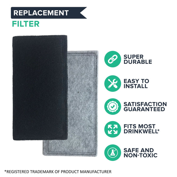 Replacement Two-Chamber Charcoal Filters, Fits Drinkwell Pet Fountains