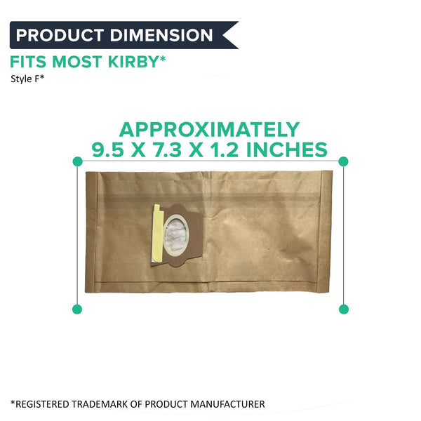 Crucial Vacuum Replacement Vac Bags Part # 204808, 205808 - Compatible With Kirby Models G4, G5, G6, Ultimate G Diamond, Sentria, Sentria II, Avalir - 9.5