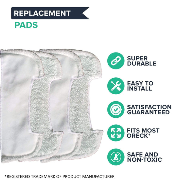 4pk Replacement Mop Pads, Fits Oreck Grab It & Steam It, Washable & Reusable, Compatible with Part SWSTEAMKIT2