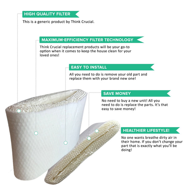 Crucial Air Replacements for Honeywell HC-14 Humidifier Filter Fits HCM3500, HM3600 & HCM-6000, Compatible With Part # HC14
