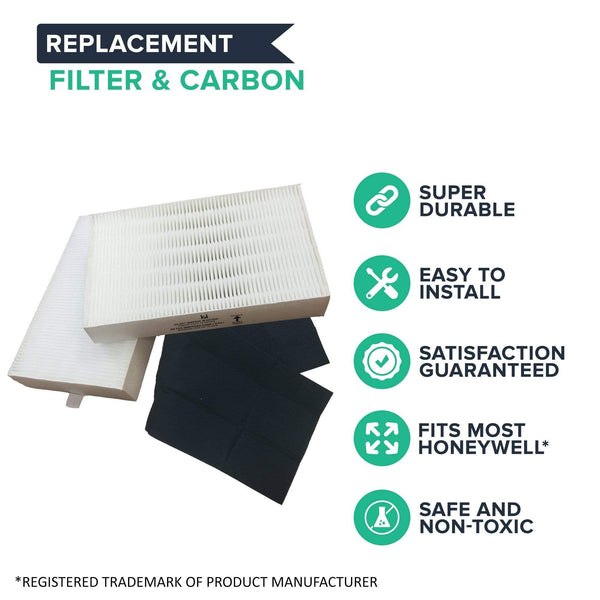 Replacement Carbon Filter & R Air Purifier Filter Kit, Fits Honeywell, Compatible with Part HRF-ARVP
