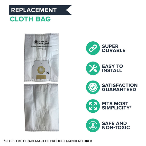 Replacement H HEPA Style Cloth Bags, Fits Simplicity, Compatible with Part SHH-6