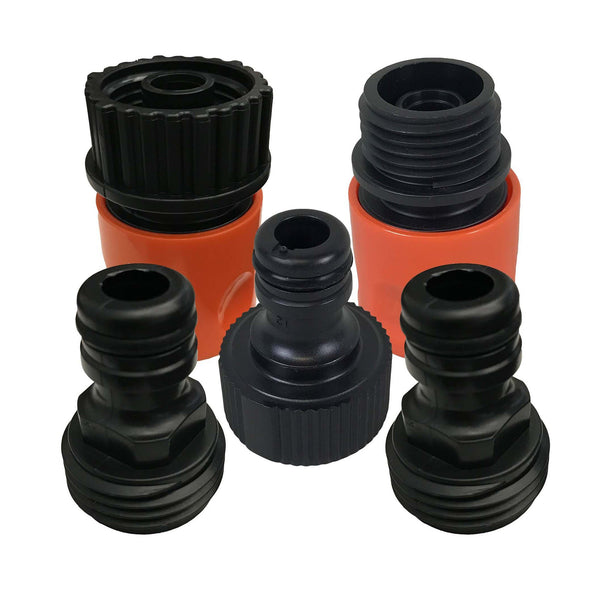 5PC Garden Hose Quick Connector Starter Set, Male & Female Adapters Included, Perfect For Faucets, Spigots, Sprinklers, Nozzles, Tools & Garden Hoses