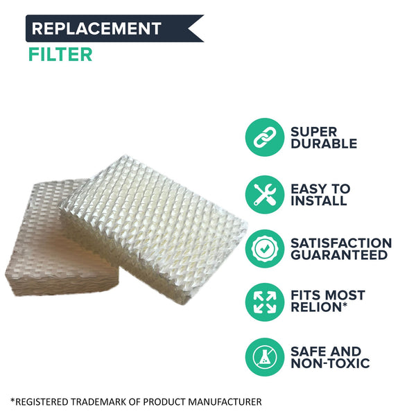 Crucial Air Filter Replacement Parts Compatible With ReliOn Part # WF813 - Fits ReliOn WF813 2-Pack Humidifier Wicking Filters, Fits ReliOn RCM832 (RCM-832) RCM-832N, DH-832 and DH-830 Vac