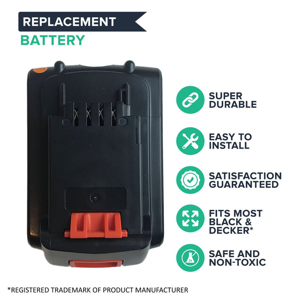 Replacement Lithium-Ion Cordless Tool Battery, Fits Black & Decker LBXR20, 20-Volt MAX
