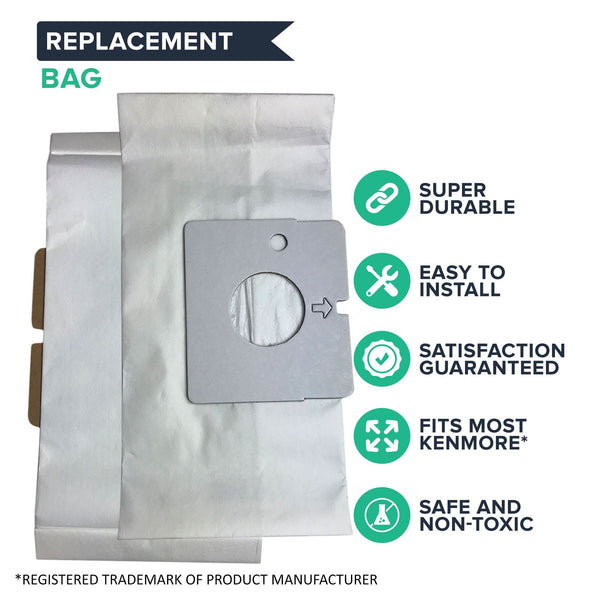 Crucial Vacuum Replacement Vac Bags Part # 20-51195 - Compatible With Kenmore Kenmore Magic Blue M Paper Bags - Ensure Refreshing Home, Office, Condo, Apartment For Compact Use