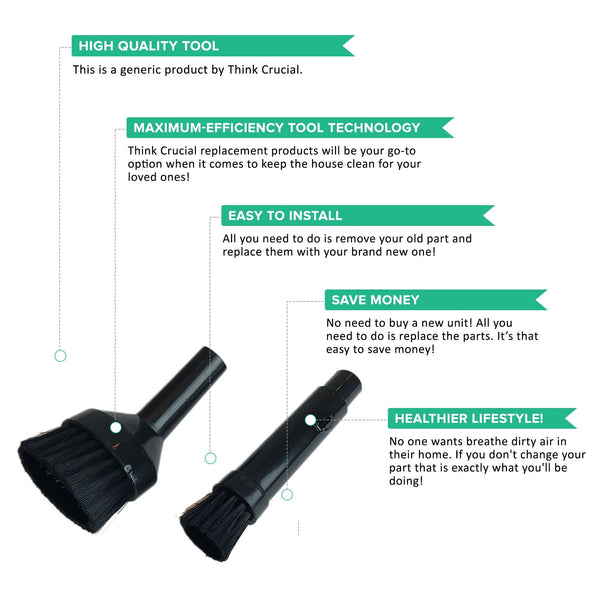 Crucial Vacuum Mini Tool Replacement Parts - Compatible With All Vacs Cleaners - Perfect 1-1/4