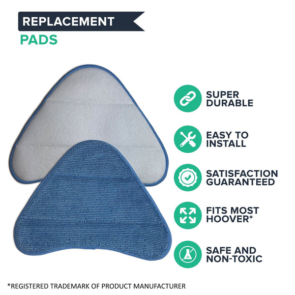 Crucial Vacuum Replacement Mop Pads Part # WH01000 - Compatible with Hoover - Fits Hoover Steam Pads Fit WH20200, WH20300 Steam Mops - Washable, Reusable Part, Models For Home, Office Use