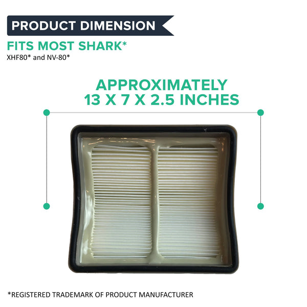 Crucial Vacuum Filter Replacement Parts - Compatible With Shark Part # XHF80 - Fits Navigator Vacuum Filters Models NV70, NV71, NV80, NV90, NV95, NVC80C, UV420 - HEPA Style Filters