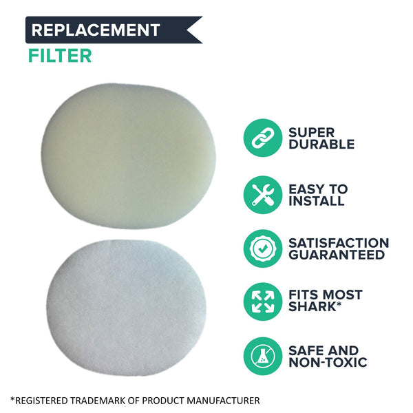 Crucial Vacuum Foam Filter Replacement- Compatible With Shark Foam, Felt Pre-Filters - Part # XFF80 - Models NV200, NV200C, NV200Q, NV201, NV202, NV202C, NV450, NV451, NV472, NV480 - Washable