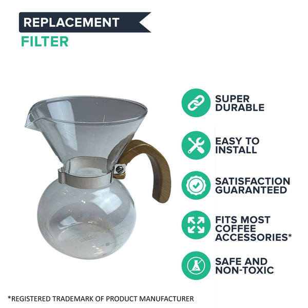 400 ML Pour Over Carafe & Double Walled Washable Stainless Steel Filter | Part # DG-2117