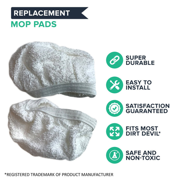 Crucial Vacuum Replacement Steam Mop Pads Part # 440001712 - Compatible with Dirt Devil Mops Models PD20020, PD20005 Hand Held Steamers - Head Pad For Cleaning Home, House Office