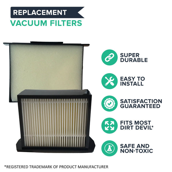 Crucial Vacuum Replacement Vacuum Filter - Compatible with Dirt Devil Part # 3LK0540001 and Dirt Devil F13 HEPA Style Filter & Foam Pre-Filter Models, Vacs - Fits Reaction Dual Cyclonic