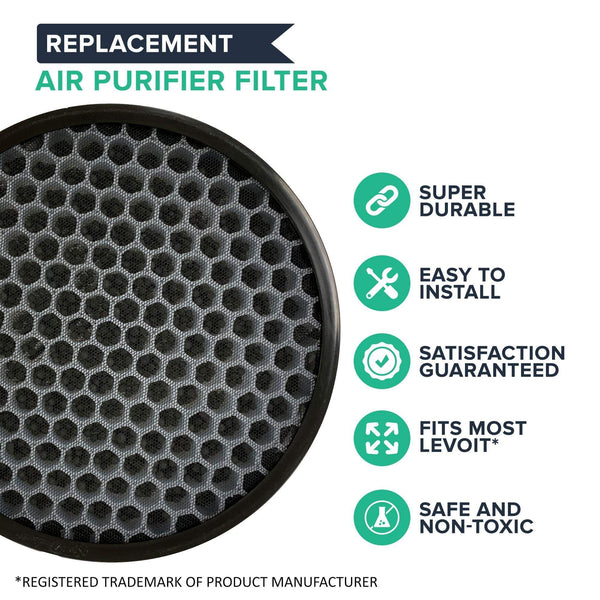 Crucial Air HEPA Style Air Purifier Filter Replacement Filter Part Compatible with Levoit Part # LV-H132-RF, Fits Model # LV-H132, Activated Carbon Technology