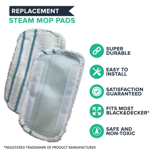 Crucial Vacuum Replacement Mop Pads - Compatible With Black & Decker Part # SMP20 Steam Mop - Microfiber Mop Pads Models - Ideal For Lightweight, Washable, Reusable For Floors, Home