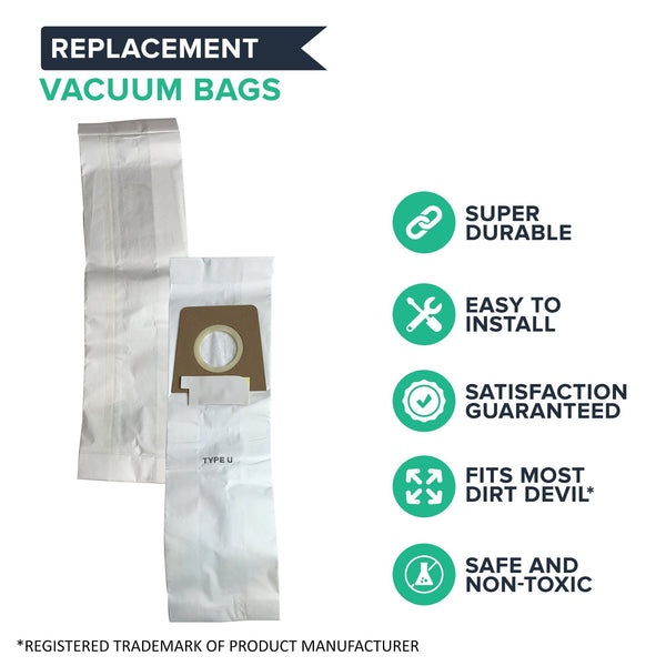 Replacement Style U Bags, Fits Dirt Devil, Compatible with Part 3920750001 & 300027064
