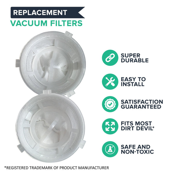 Crucial Vacuum Replacement F5 Filters with Base, Compatible with Dirt Devil F5 Hand Vac Filters with Base, Fits Dirt Devil Scorpion Hand Vacs, HEPA Style, Part 3DEA950001