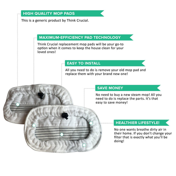 2pk Replacement Steam Mop Pads in Zebra Print, Fits Bissell Steam Mop, Washable & Reusable, Compatible with Part 203-2158, 3255, 32525 & 42G3A