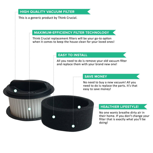 Crucial Vacuum Replacement Vacuum Filters - Compatible with Bissell Inner and Outer Filter Part 203-7593 - Ideal For Easy Vac Models 23T7, 23T74, 23T7E, 23T7F