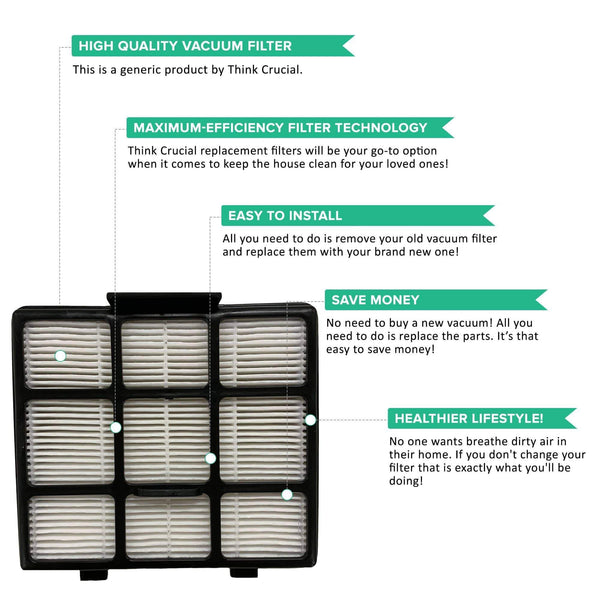 Crucial Air Filter Replacement Part Compatible with Eureka Part# S3008 Floorrover Upright Vacuum Cleaner Series NEU560 NEU561 NEU562 NEU563 NEU565 NEU566 NEU568 NEU569 HEPA Style
