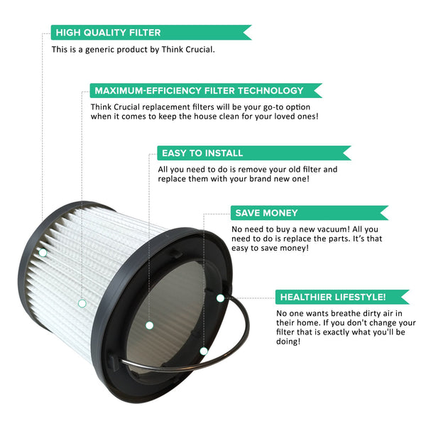 Think Crucial Canada Replacement Vacuum Filters Compatible With Black & Decker Vacuums, Washable and Reusable Filter Part - Parts #VF100, VF100H - Fits Model PVF110, PHV1210, and PHV1810