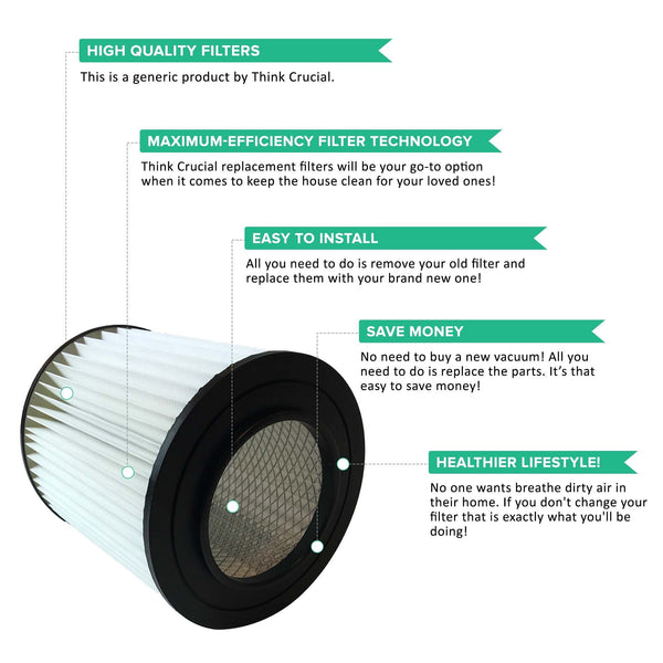 Replacement 7-inch Central Vacuum Filter, Fits Dirt Devil, Compatible with Part 8106-01