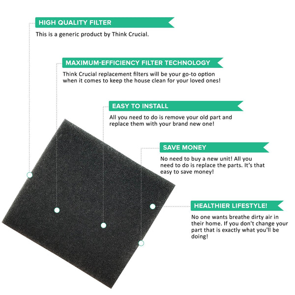 Replacement F45 Foam Filter, Fits Dirt Devil, Compatible with Part 1KQ0106000