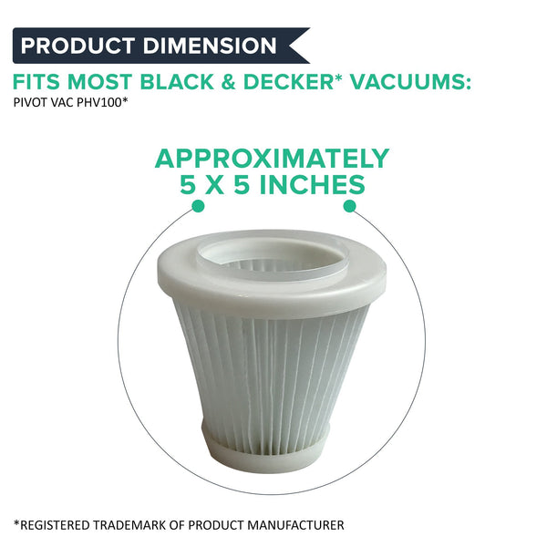 Think Crucial Canada Replacement Vacuum Filters Compatible with Black and Decker Pivot Vac Filter Part - Washable, Reusable with Vacuums Parts PVF100, 514723900, Fits Model PHV1800, PHV1800CB