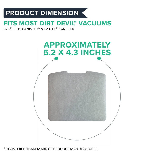 Replacement F45 Foam Exhaust Filter, Fits Dirt Devil, Compatible with Part 2KQ0104000