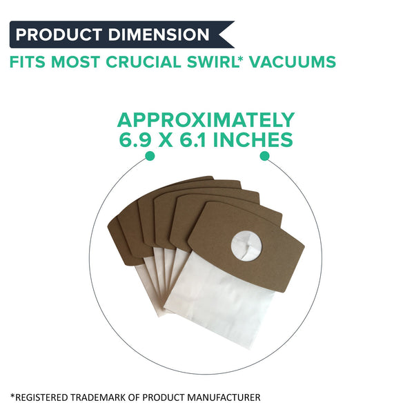 Crucial Vacuum Replacement Swirl Vacuum Bags - Compatible with Simplicity Swirl Micro Lined Vacuum Bag - Fits Crucial Swirl Vacuum, Sport Type S, SS-6 and Riccar SupraQuik RSQ-6 Models