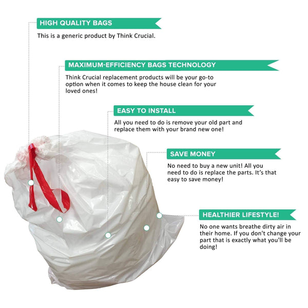Replacement Garbage Bags, Fits Simplehuman Trash Bins, 80L / 21.13 Gallon, Style-X