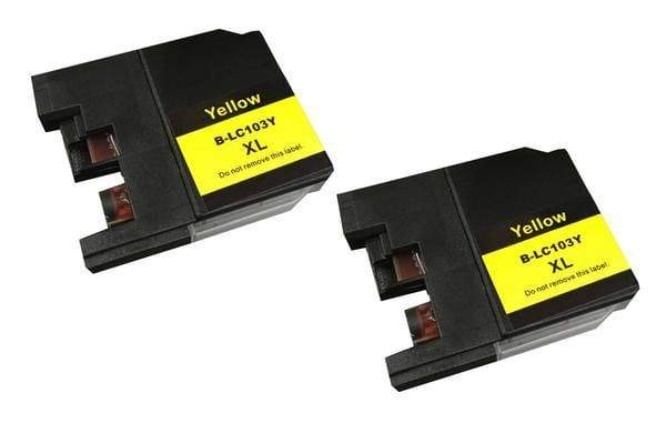 Replacement Yellow Toner Ink Cartridge, Fits Brother Printers, Compatible with Part LC-103XL
