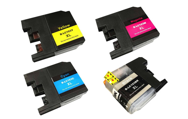 4PK Brother Black, Cyan, Magenta & Yellow Toner Ink Cartridges | Part # LC-103XL | Office | brother | Set