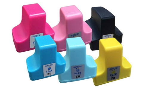 Replacement Black, Cyan, Light Cyan, Magenta, Light Magenta & Yellow Ink Cartridges, Fits HP 02, Compatible with Part C8721WN & 140