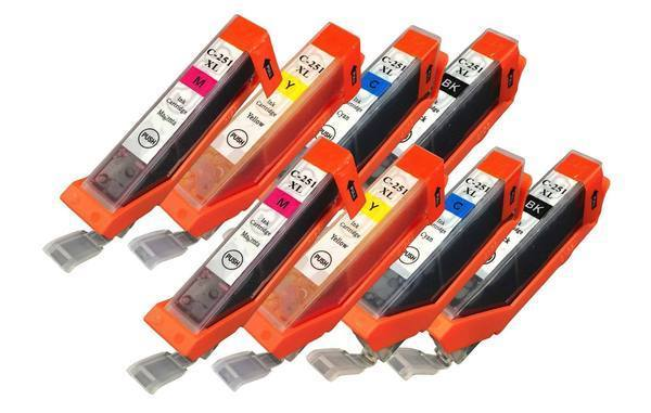 Replacement Black, Cyan, Magenta & Yellow Toner Ink Cartridge, Fits Canon Printers, Compatible with Part CLI-251XL