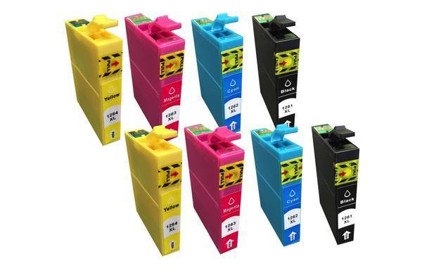 Black, Cyan, Magenta & Yellow Ink Cartridges, Fits Epson 126, Compatible with Part T126120