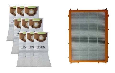9pk Replacement RR Bags & 1 HF2 HEPA Style Filter, Fits Eureka, Compatible with Part 6115, 63295A &  61111
