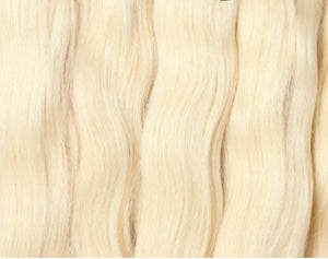 Bleached blonde weft Russian hair extensions Australia