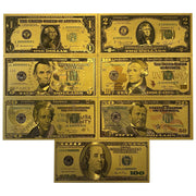 24K Gold Foil 7 Piece USA Money Set