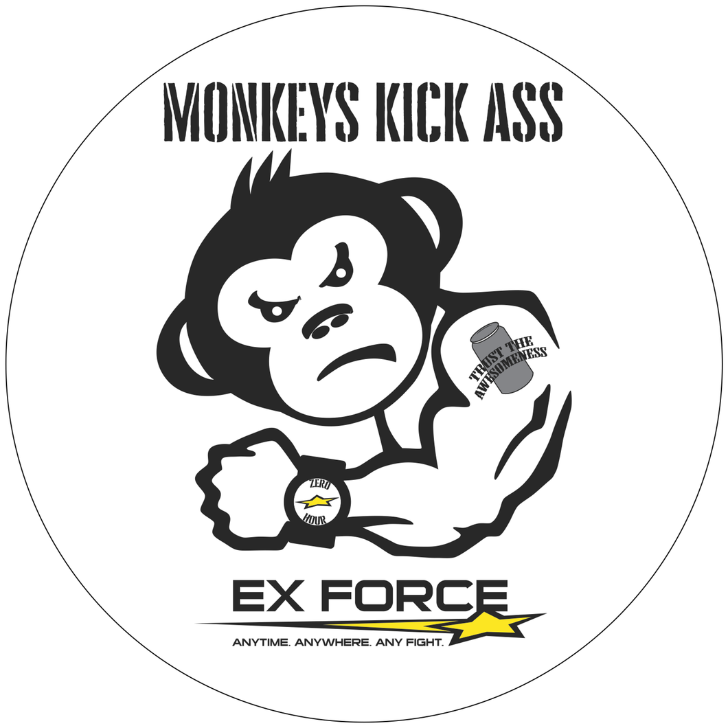 Monkeys Kick Ass - 5 inch Sticker