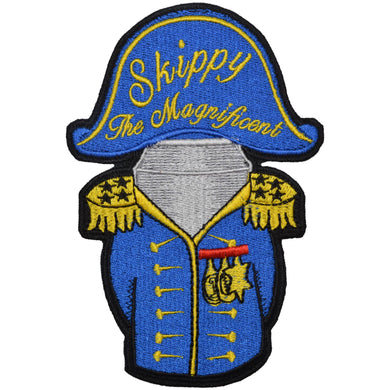 Admiral Skippy the Magnificent - Embroidered Patch with Hook Fastener Backing