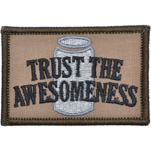 Trust the Awesomeness - Embroidered Patch with Hook Fastener Backing - Coyote Brown