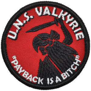 U.N.S. Valkyrie  - Embroidered Patch with Hook Fastener Backing
