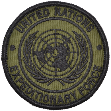 U.N.E.F. ExForce - 3.5 inch Embroidered Patch with Hook Fastener Backing - Olive Drab
