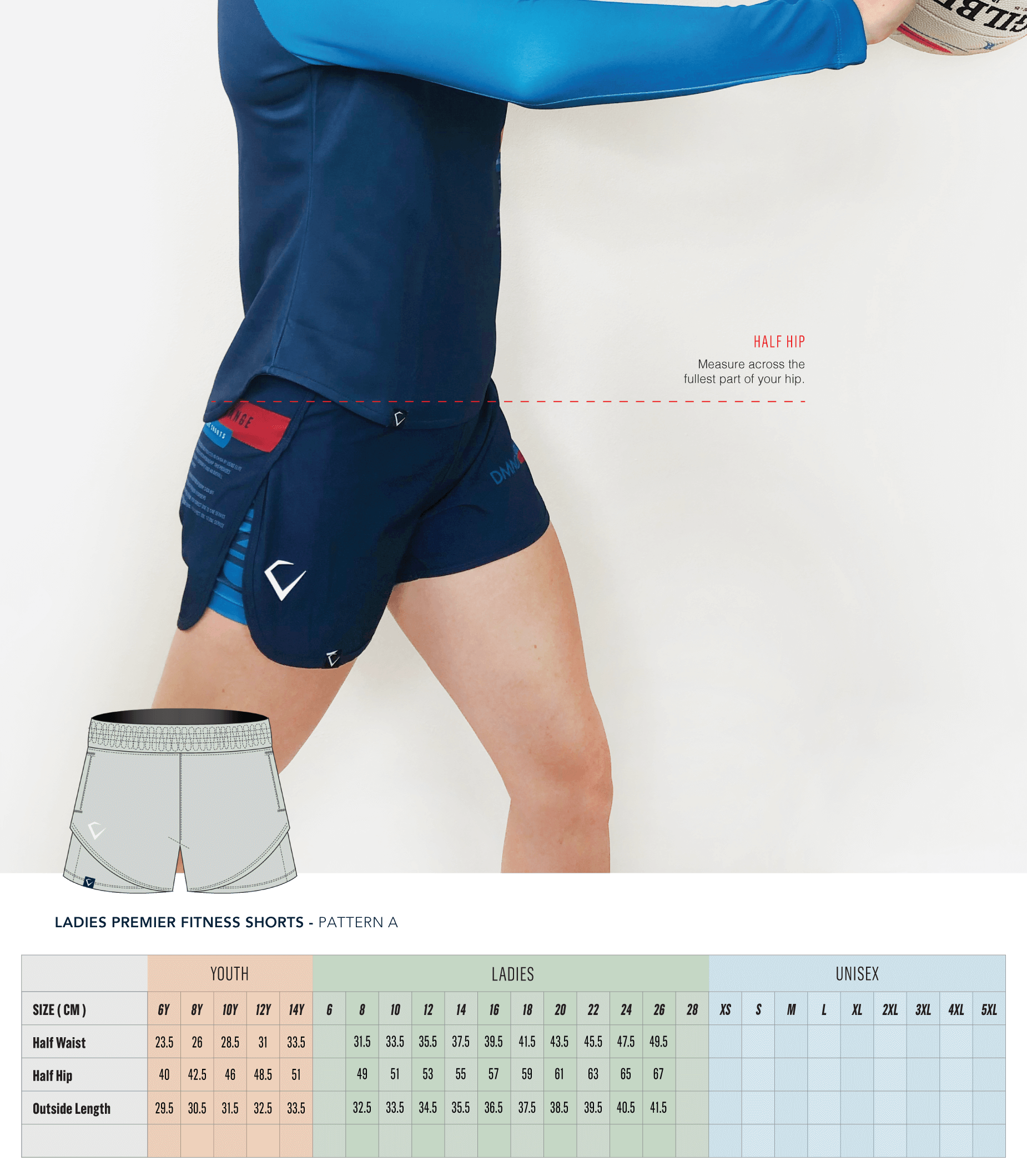 Ladies Premier Fitness Shorts Pattern A Size Guide