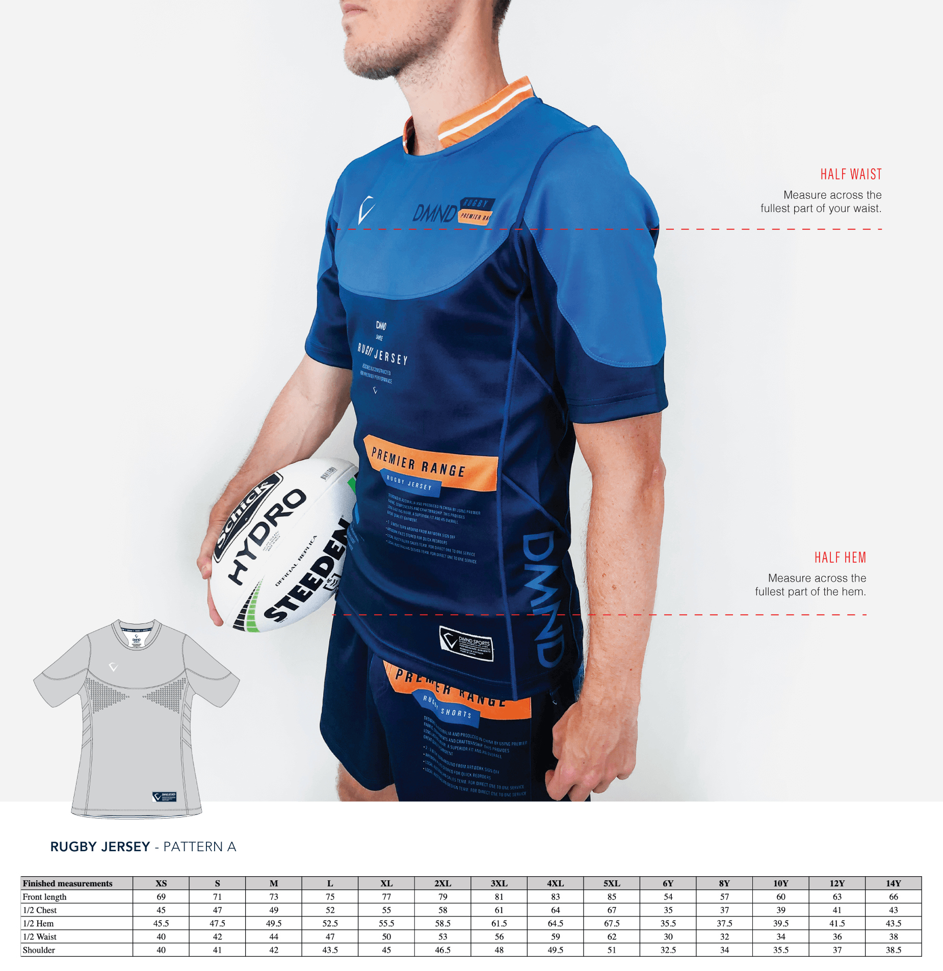 Rugby Jerseys Pattern A Size Guide