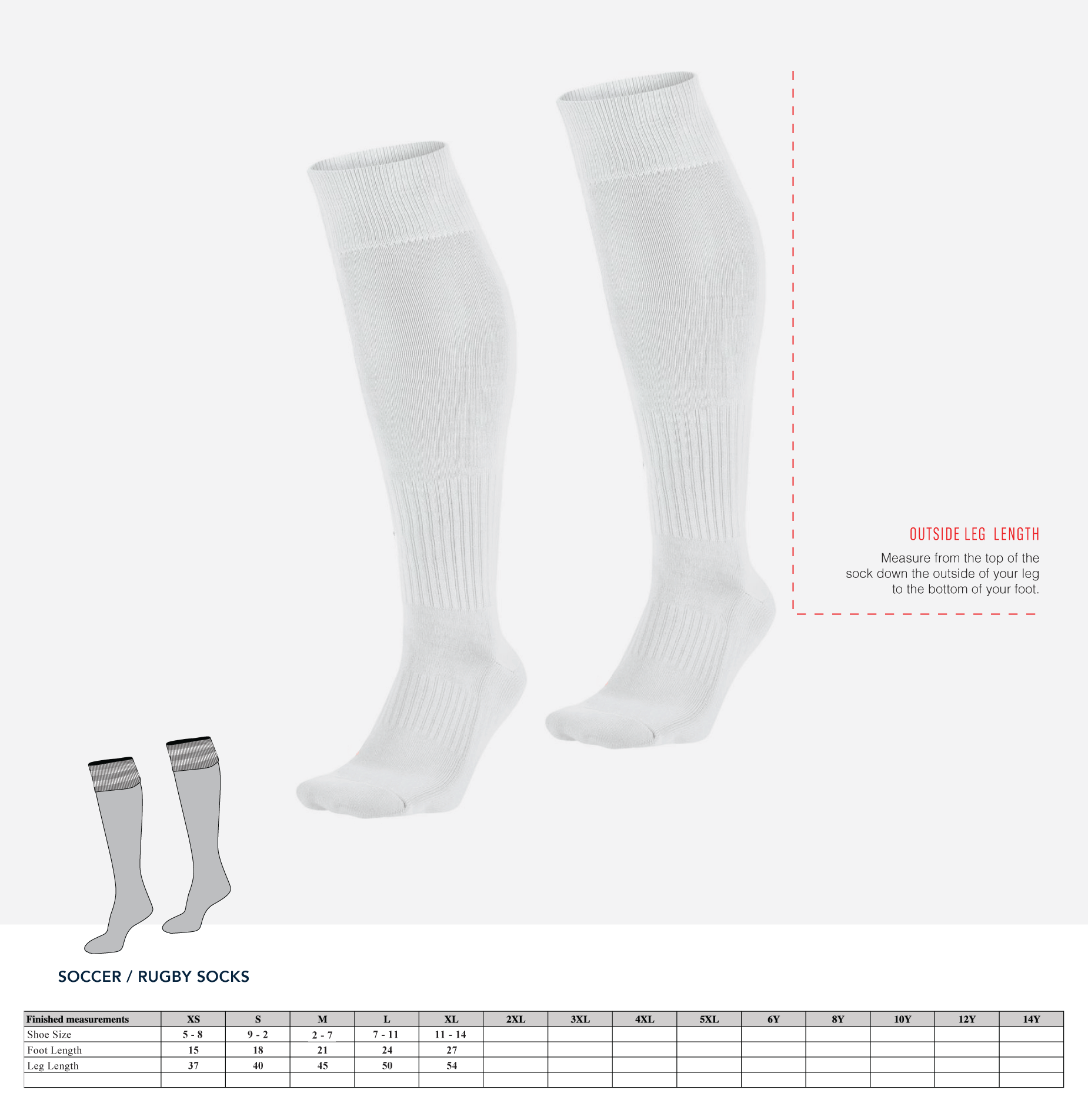 Rugby Socks Pattern A Size Guide