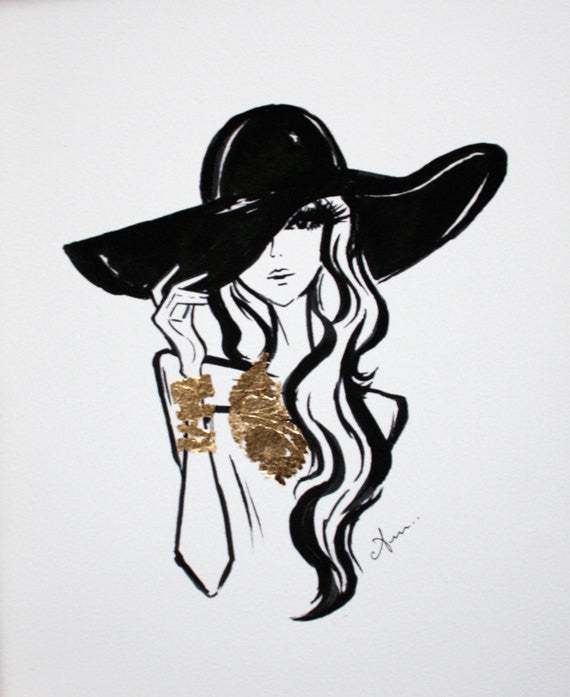 Black Hat & Gold Leaf Fashion Illustration