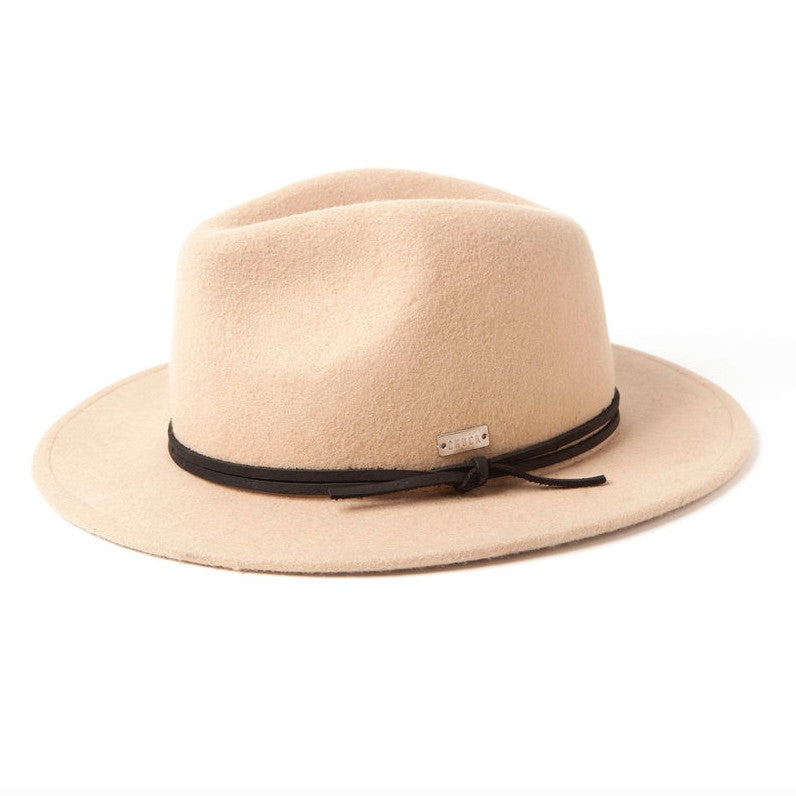 Lina Fedora with Leather Trim :: Sand